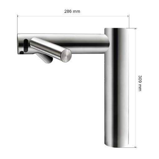 Dyson Tap lange Version Massblatt höhe 309mm