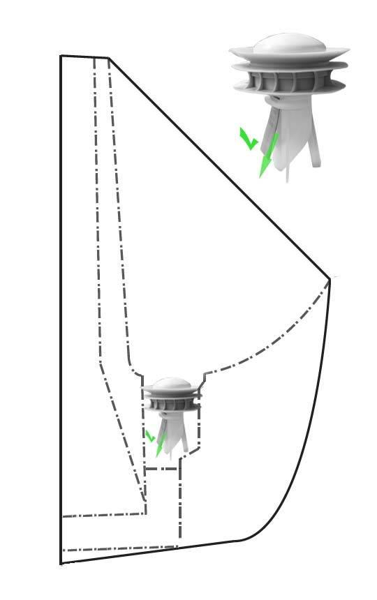 Modellansicht wasserlose Urinale mit offenem Geruchsverschluss